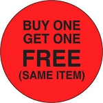 10095 Buy One Get One Free Same Item Promotional Sticker Roll (1000 Labels Per Roll)