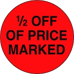 10096 1/2 Off Of Price Marked Promotional Sticker Roll (1000 Labels Per Roll)