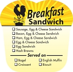 10699 Breakfast Sandwich Check Off Deli Label Roll (500 per Roll)